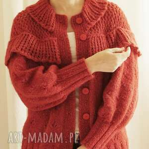 swetry kardigan z falbankami - koralowa czerwień, kardigan, koralowy, wełniany