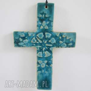 dekoracje turkusowy koronkowy krzyżyk, krzyż ceramiczny, krzyżyk na ścianę