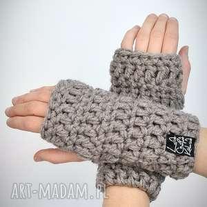 Rękawiczki 19 - ciemne beżowe laczapakabra mitenki, rękawiczki