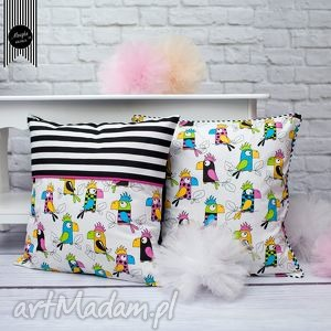 Zestaw 2 poszewek papugi pokoik dziecka muszka design poduszki