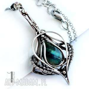 miechunka pendulo - srebrny naszyjnik z labradorytem - wire wrapping, prezent