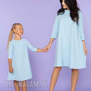 KOMPLET DLA MAMY I CÓRKI, elegancka sukienka trapezowa z kieszeniami, model 24