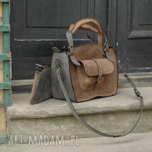 kuferek szary i jasno brązowy idealna torba na co dzień z pięknej naturalnej skóry