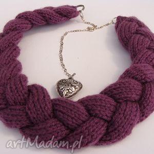 fioletowy naszyjnik z wełny w kształcie warkocza, wełna, włóczka, modny, prezent