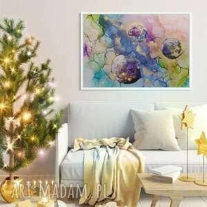 art is hard gallery planety, kosmos - obraz ręcznie malowany o wypukłej