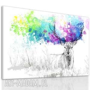 Obraz z jeleniem w kolorowe, barwne plamy wydrukowany