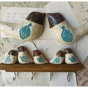 zestaw z ptaszkami na ścianę, ceramika, wieszak, drewno, ptaszek