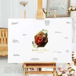 handmade księgi gości romantyczny obraz a la księga - zdjecie w wieńcu kwiatów