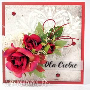 z różami, kartka, scrapbooking, życzenia, unikalne