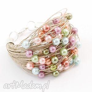 unikalne, bransoletka lniana - leni, len, perły