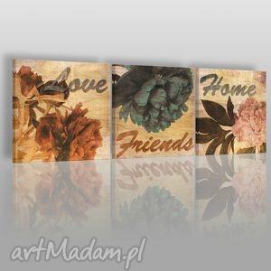 obraz na płótnie - napisy vintage 3x40x40 cm 04901, napisy, vintage, kwiaty, love