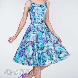 Sukienka LIZA Midi Markiza, kieszenie, rozkloszowana, żakard, koło, kwiaty, midi