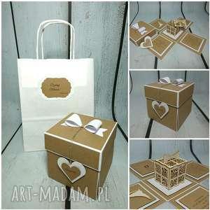Exploding box / eksplodujące pudełeczko w eco z pudełkiem, ślub, wesele, pamiatka
