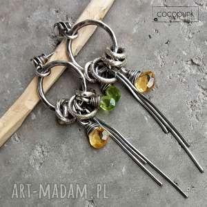 srebro,peridot,cytryn - długie kolczyki koła, kolczyki, wiszące