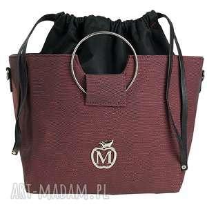 do ręki torebka manzana z kółkiem i ściąganym workiem bordowa, torebka, torba