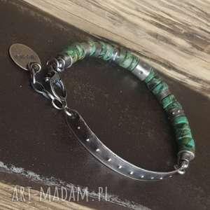 bransoletka srebrna z turkusami afrykańskimi, srebro oksydowane, turkus