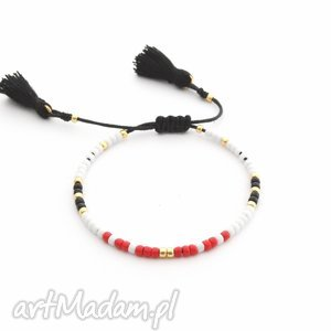 Bransoletka Minimal - Red And Black, bransoletki, minimal, minimalistyczne, chwost