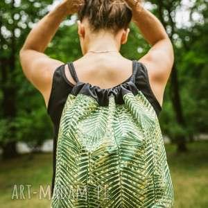 liście, palmy, worek, plecak
