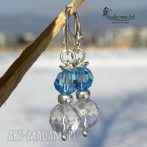Lodowy błękit , swarovski, kryształ, srebro, eleganckie, błyszczące
