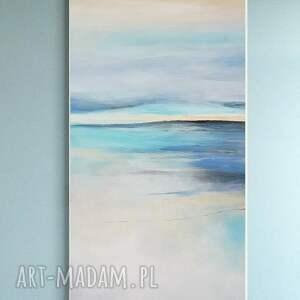pastelowy pejzaż morski -obraz akrylowy 50/100 cm, obraz, akryl, pastele