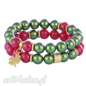 pearly chic - scarab & fuchsia lavoga - koniczynka, perły skarabeusz