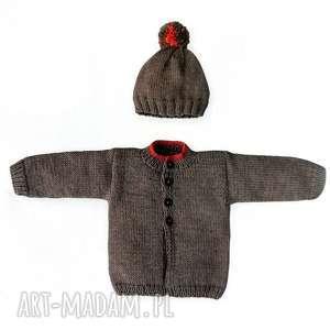 komplet kolorowy pompon, sweterek, blezer, czapka, dziergany, prezent