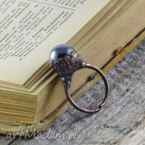 handmade pierścionki liquid - pierścionek z hematytem