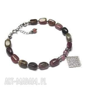 turmaliny - bransoletka, srebro oksydowane, turmalin, rubin, romb, kamienie