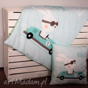 kocyk minky z poduszką, motyw wyścigówka, kocyk, minky, poduszka, łóżeczka