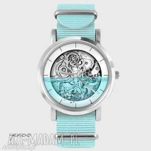 Prezent Zegarek, bransoletka - Wodny steampunk niebieski, nato, zegarek