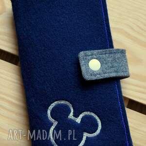handmade etui filcowe na telefon i karty - myszka