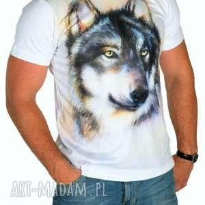 artystyczny t_shirt męski malowany wilk wysoka jakość rozm s/m/l/xl, tshirt