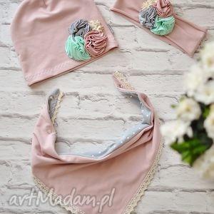 cienki wiosenny komplet dla dziewczynki czapka, komin, opaska - czapka, bawełna