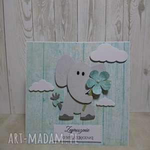 zaproszenie kartka miętowy słonik z kwiatkiem - słonik, zaproszenie, sesja