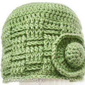 czapka wełniana, zielona - czapka, szydełko, wełna