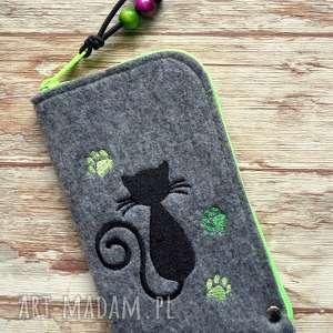 hand-made etui filcowe na telefon - kotek