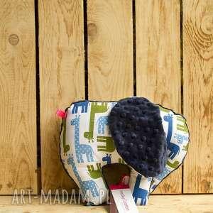 mięciutki słonik - minky bawełna - granatowe żyrafy - zabawka, prezent