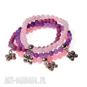 cztery w różu bransoletki b418, bransoletki, zestaw, na gumce, z agatami