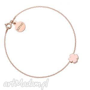 bransoletka z różowego zlota delikatną koniczynką, naszyjnik, srebro, pozłacane