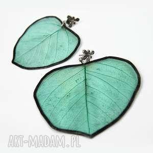 kolczyki prawdziwe liście zielone wzór, kolczyki-z-liści