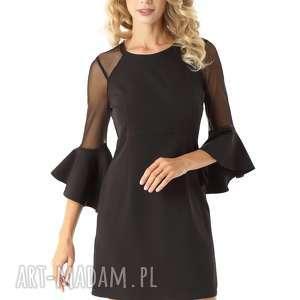 Sukienka szerokimi rękawami i tiulowymi wstawkami czarna, elegancka-sukienka