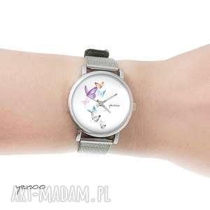 Prezent Zegarek, bransoletka - Motyle mały, zegarek, bransoletka, metalowy, pasek