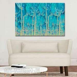 obraz z turkusem turkusowy las 120 x 80, nowoczesny na ścianę do salonu