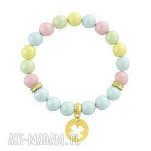 bransoletki pearly chic - pastels 4, perła, swarovski, koniczynka