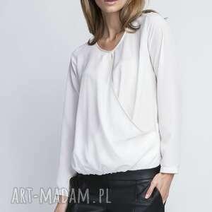 Bluzka, BLU125 ecru, kobieca, delikatna, kopertowa, elegancka, klasyczna, koszula