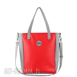 hand made na ramię damska torebka cuboid jasnoszara z czerwienią