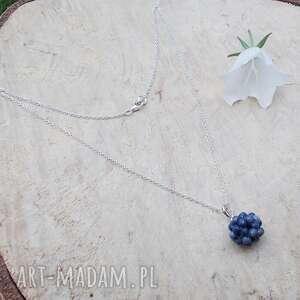 naszyjniki szafirowe kule - naszyjnik, srebrna biżuteria, srebrny naszyjnik