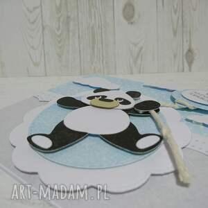 hand made scrapbooking kartki zaproszenie / kartka panda na powitanie