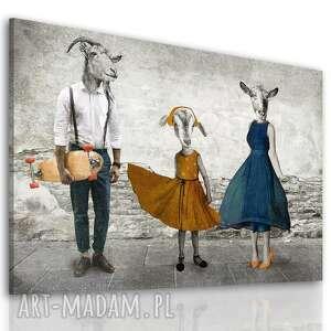 obraz drukowany na płótnie - kozłowscy z córką 120x80cm, rodzina kozłwskich, kozy