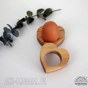 hand-made podkładki drewniana podstawka pod jajko - serce